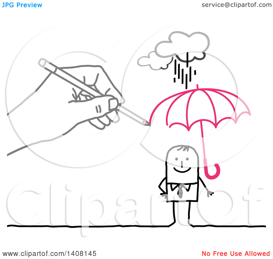 Clipart of a Hand Drawing a Sheltering Insurance Umbrella over a.