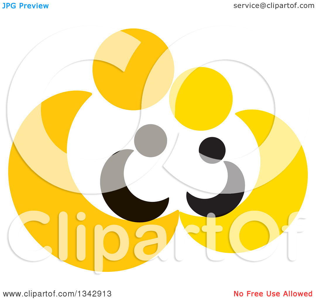 Clipart of Yellow Abstract Parents Sheltering Their Children.