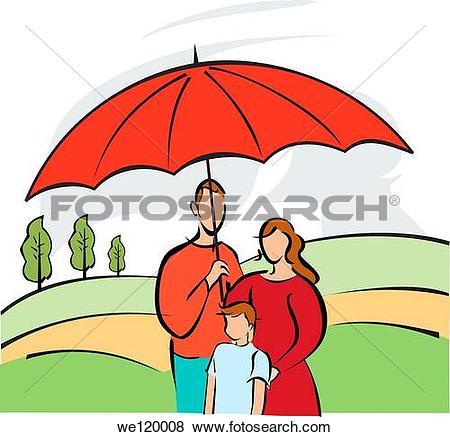 Pictures of Family sheltering under an insurance cover umbrella.