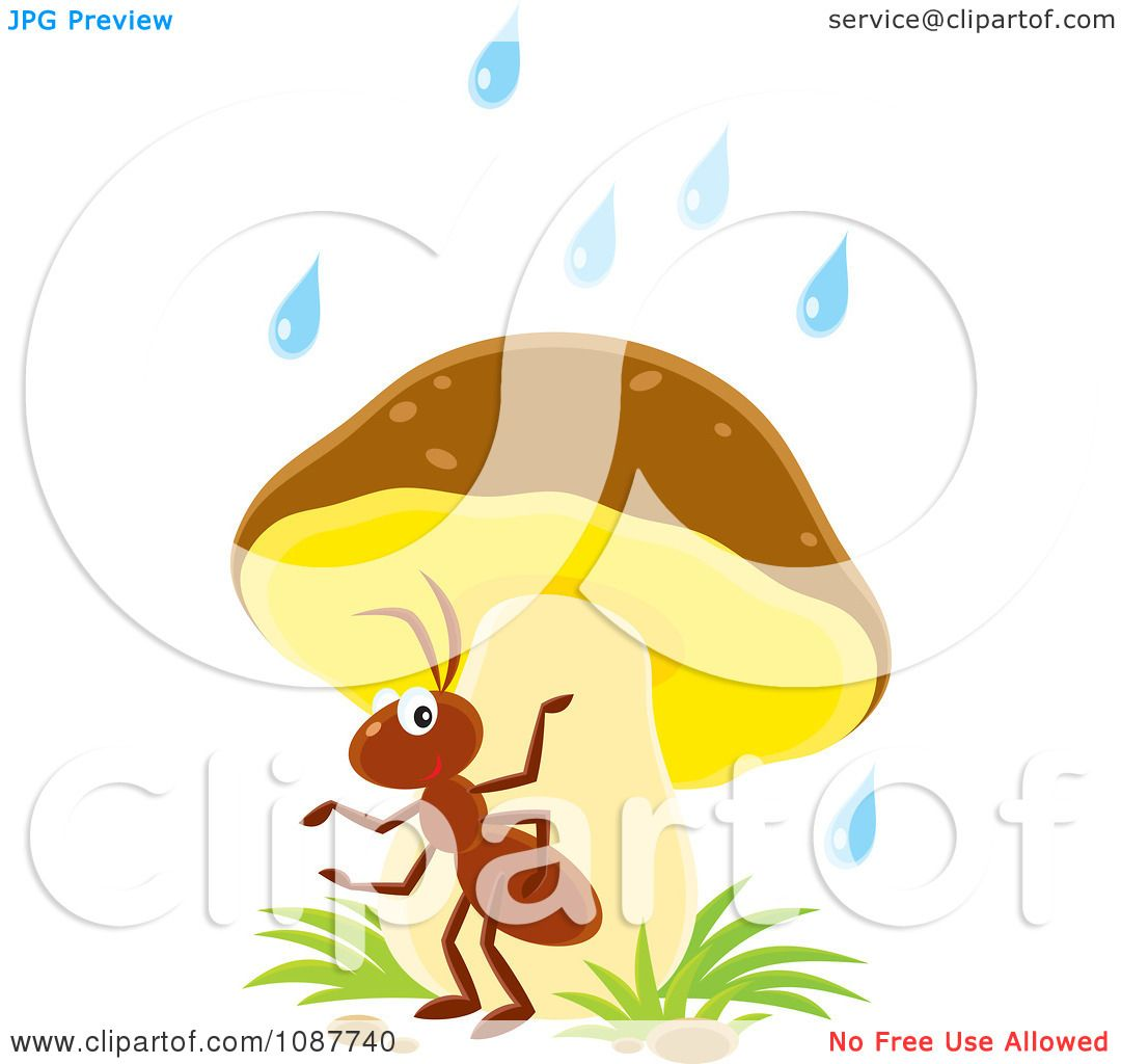 Clipart Ant Seeking Shelter From The Rain Under A Mushroom.