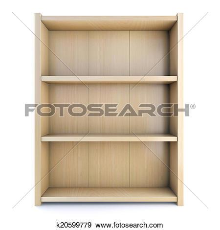 Stock Illustration of 3d Wooden shelved bookcase k20599779.