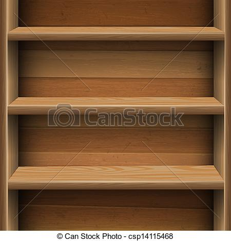 Clip Art Vector of Wooden shelves background. Vector EPS10.