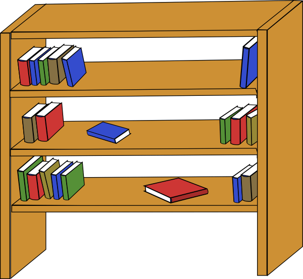 Organized clipart shelving book, Organized shelving book.