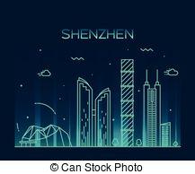 Shenzhen skyline Vector Clipart EPS Images. 11 Shenzhen skyline.
