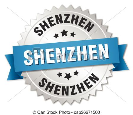 Vector Clipart of Shenzhen round silver badge with blue ribbon.