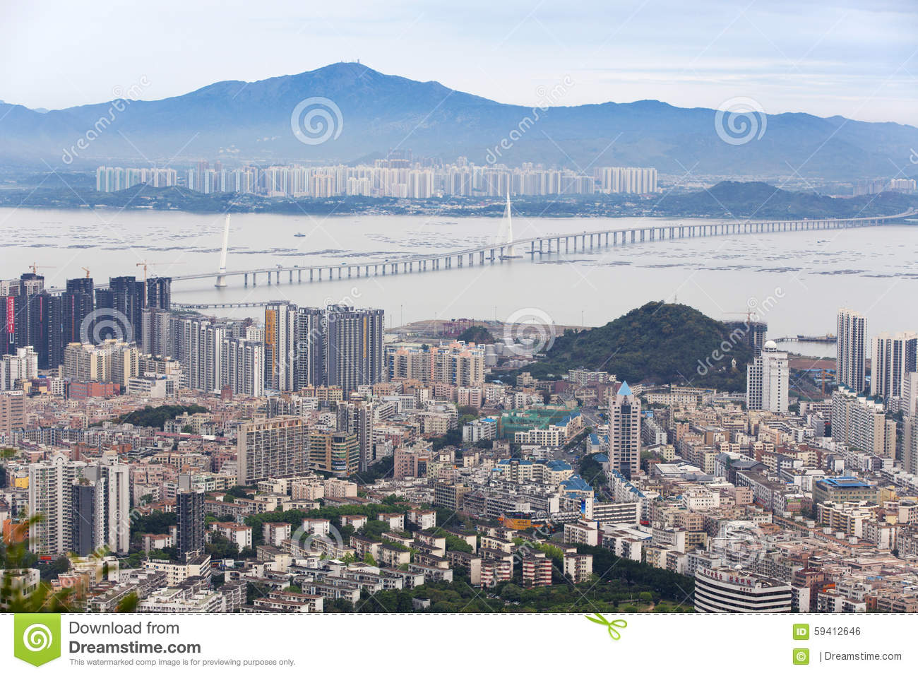 Shekou, Shenzhen, Guangdong, China Panorama Stock Photo.
