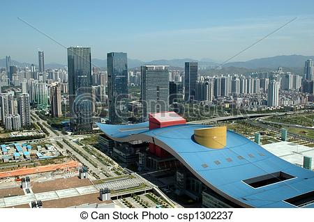 Picture of China, Shenzhen city aerial view.