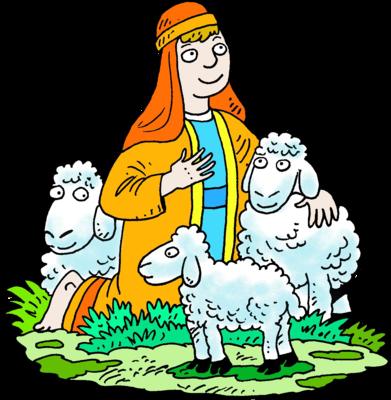 Image: Kneeling Shepherd White Three Sheep.