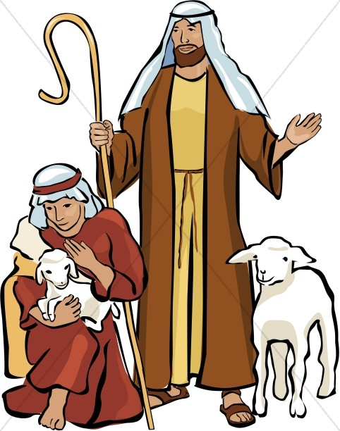 Two Shepherds and Two Lambs.