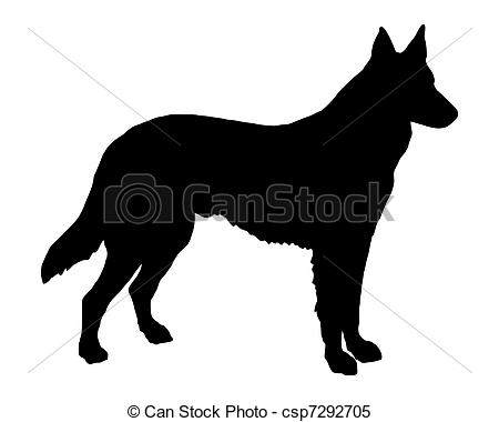 Clipart Vector of The black silhouette of a Shepherd Dog.