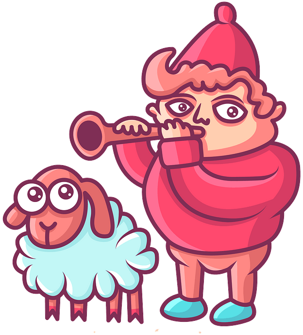 Shepherd with a sheep clipart. Free download..