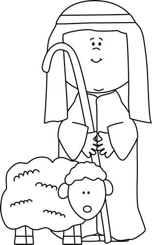 Black and White Shepherd with Sheep Clip Art.