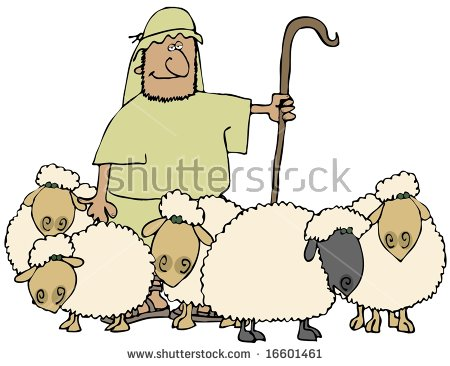 Shepherd And Sheep Stock Images, Royalty.