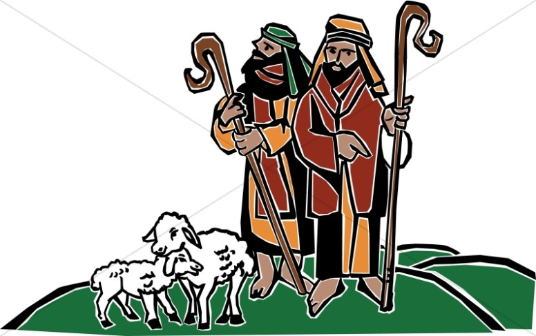 Shepherd And Sheep Clipart.