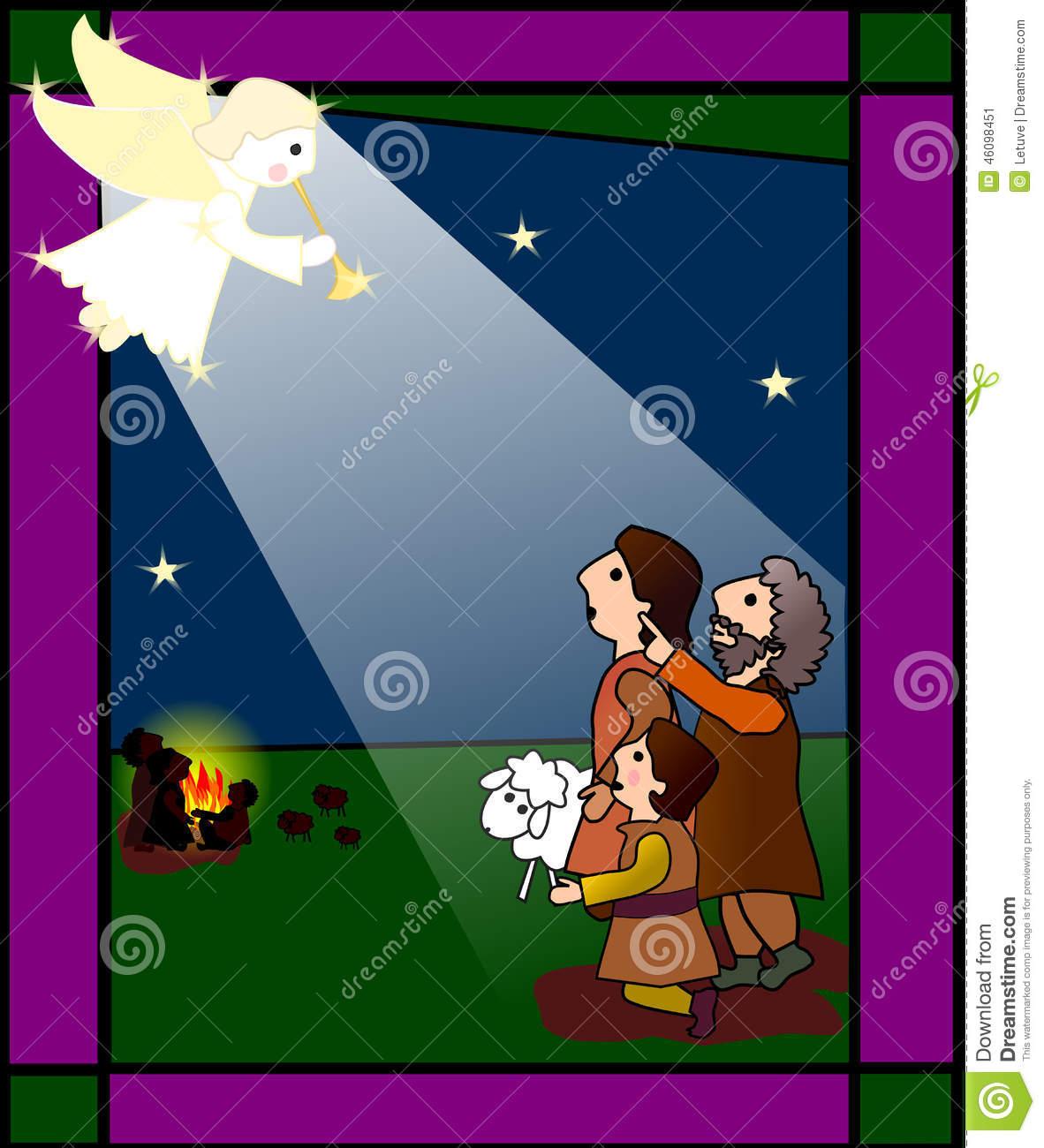 Shepherds Traveling To Jesus Christmas Clipart.