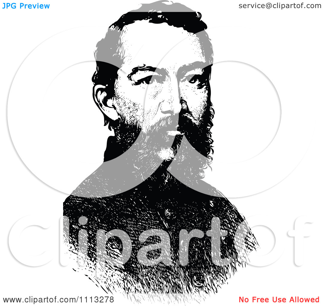 Clipart Vintage Black And White Portrait Of General Philip.