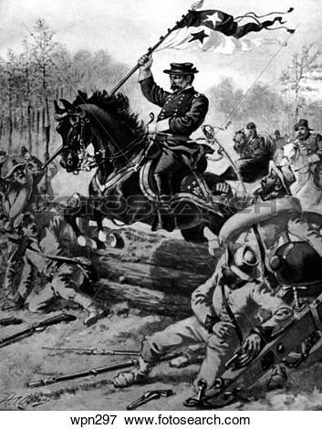 Stock Illustration of General Sheridan at Cedar Creek, American.