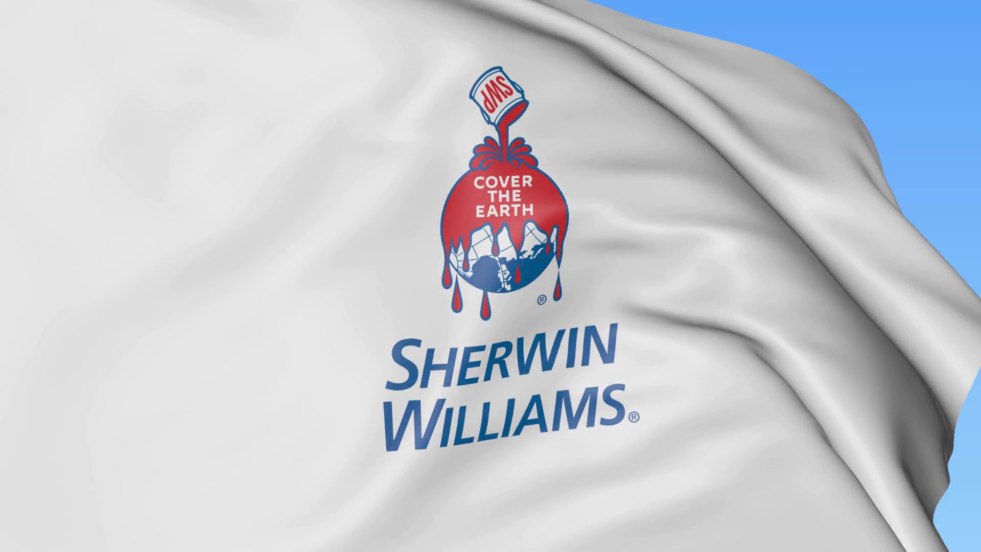 Waving flag with Sherwin Williams logo. Seamles loop 4K editorial animation  Stock Video Footage.