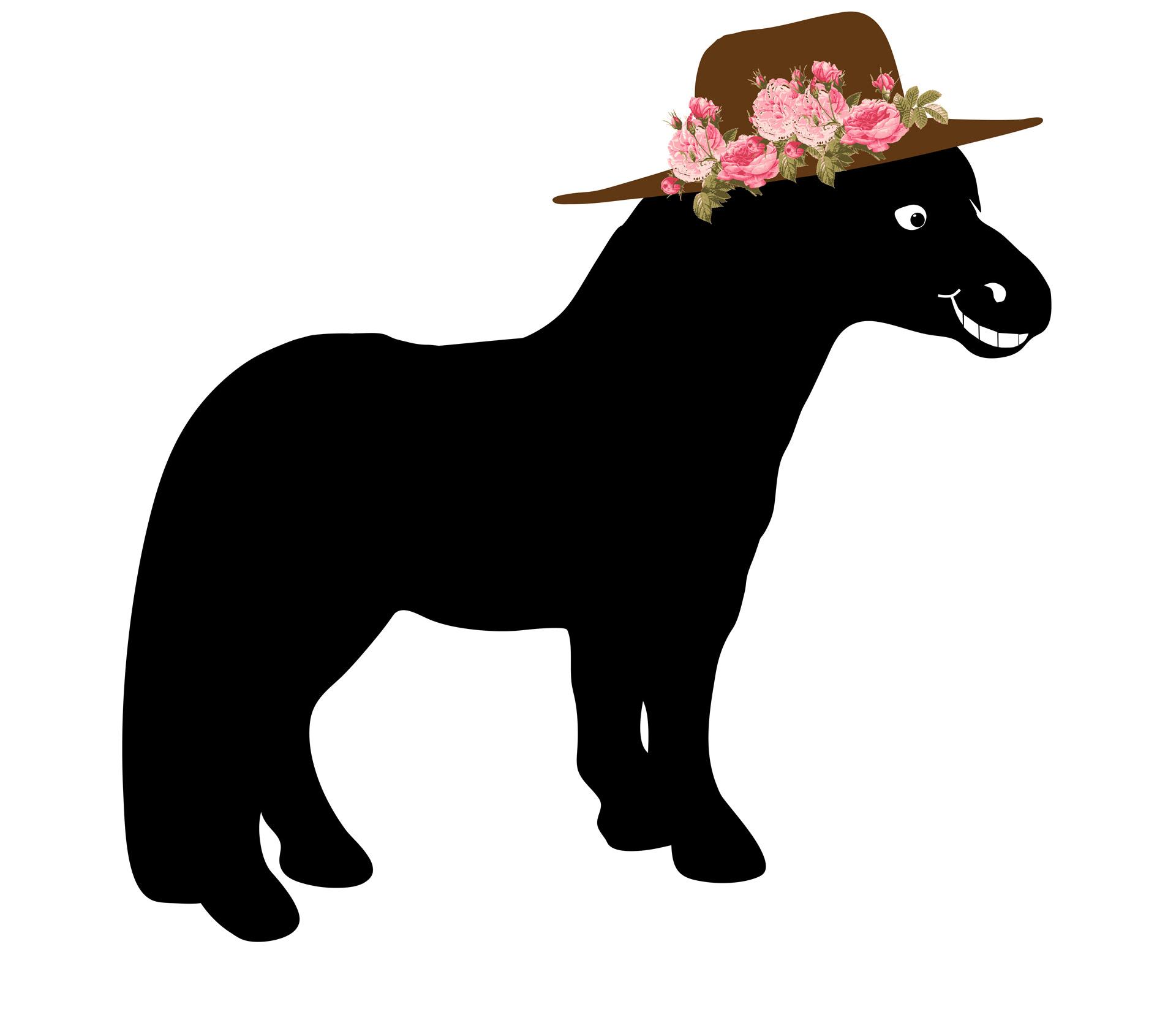 Horse Smile Hat Cartoon Clipart Free Stock Photo.