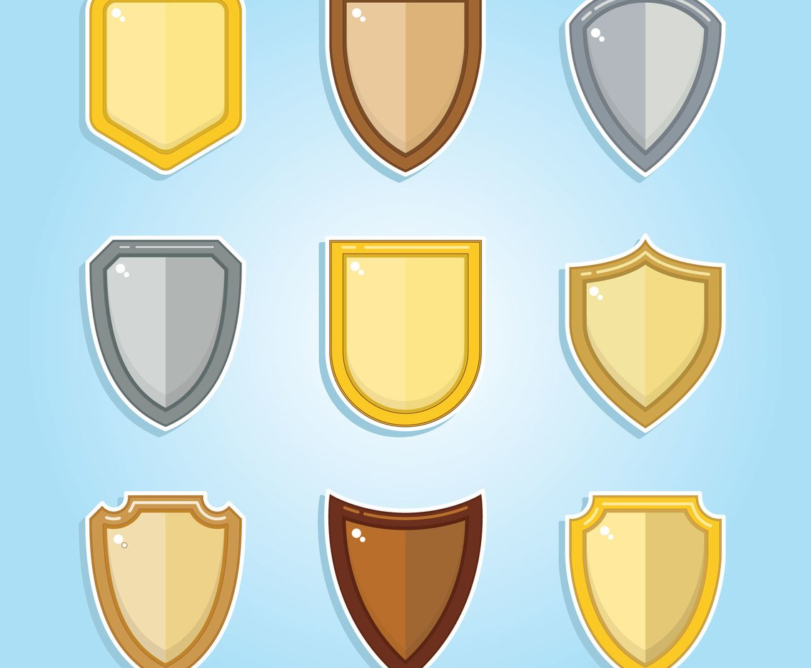 Shield Clipart Set Vector Art & Graphics.