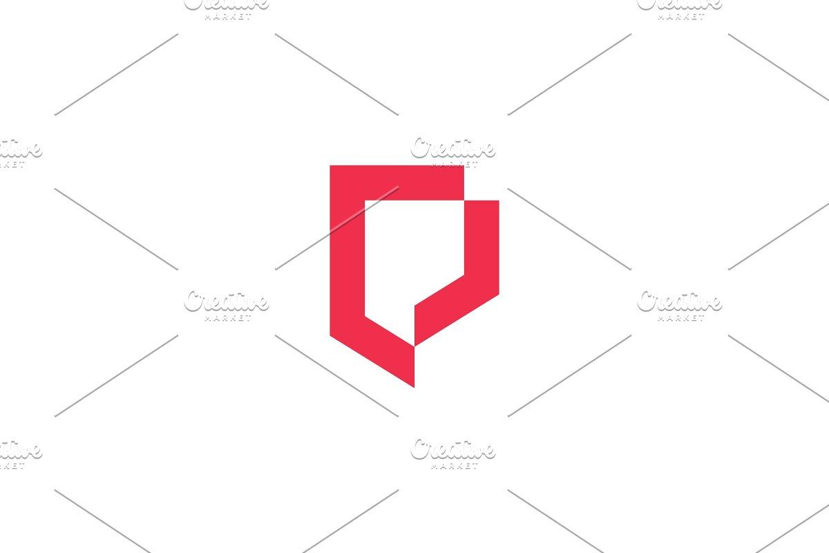 geometric shield logo vector icon.