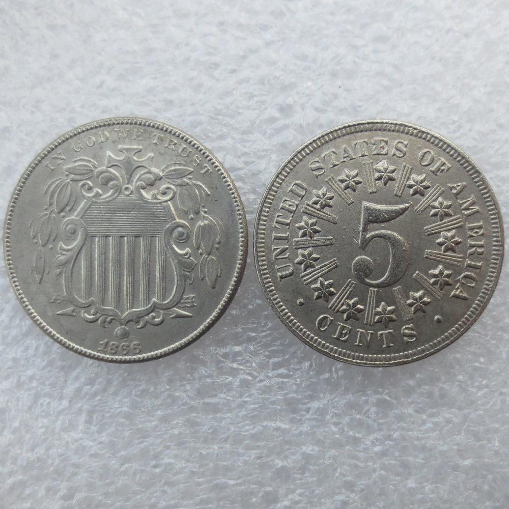Online Get Cheap 1866 Shield Nickel.