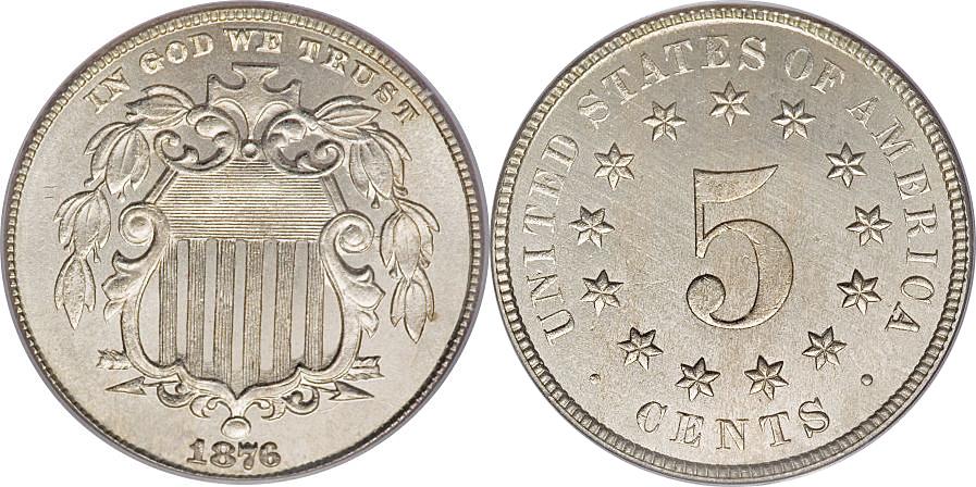 Shield Nickel Five Cents 1866.