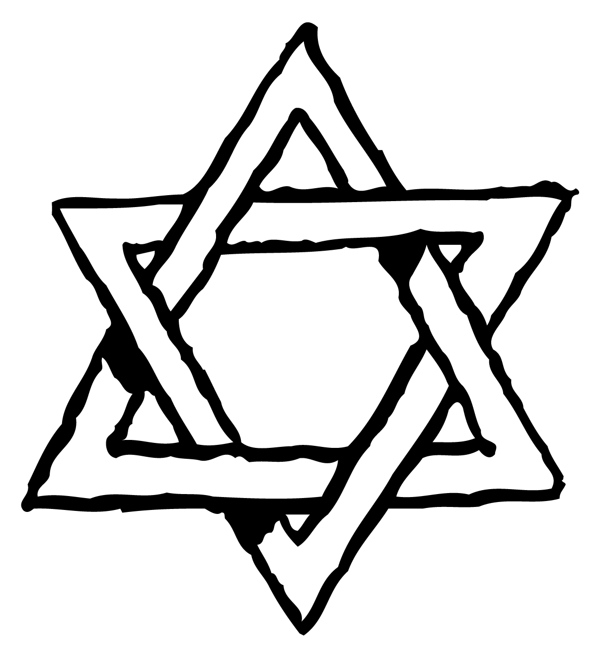 Line clipart of star of david.