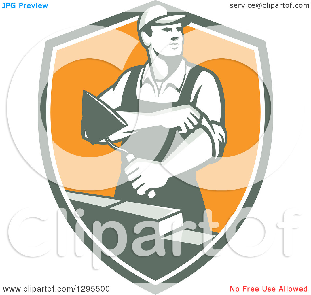 Clipart of a Retro Male Mason Worker Rolling up His Sleeves and.