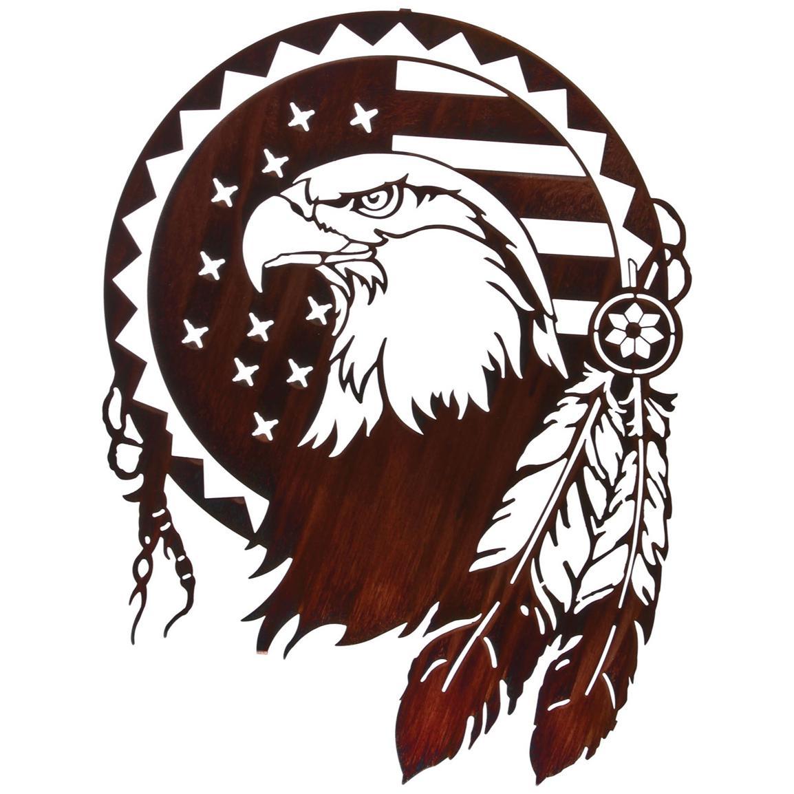 LaZart® Eagle Shield Wall Art, Honey Pinion.