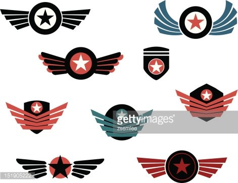 Shield and badge with wings Clipart Image.