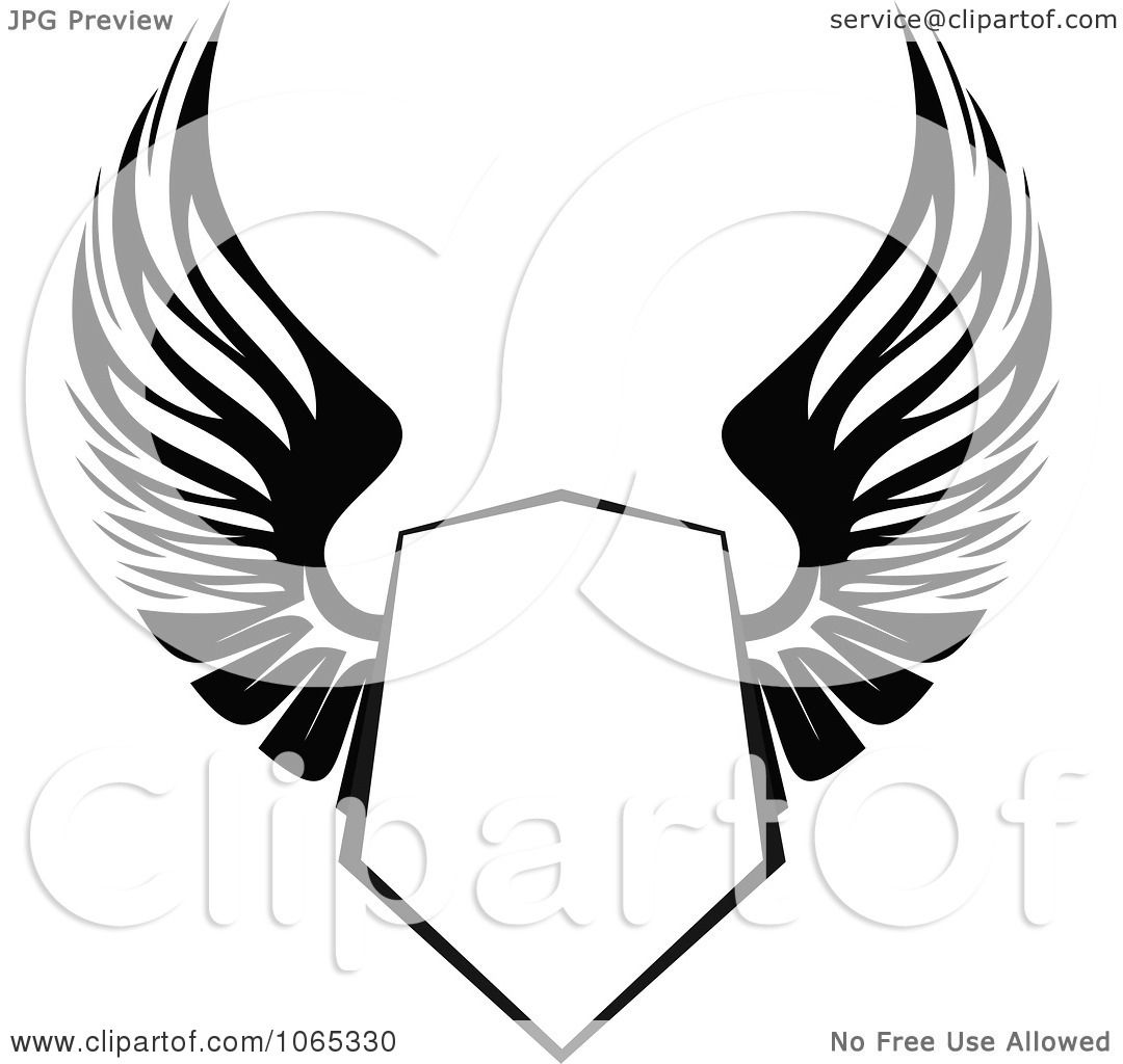 Shield With Wings Outline.