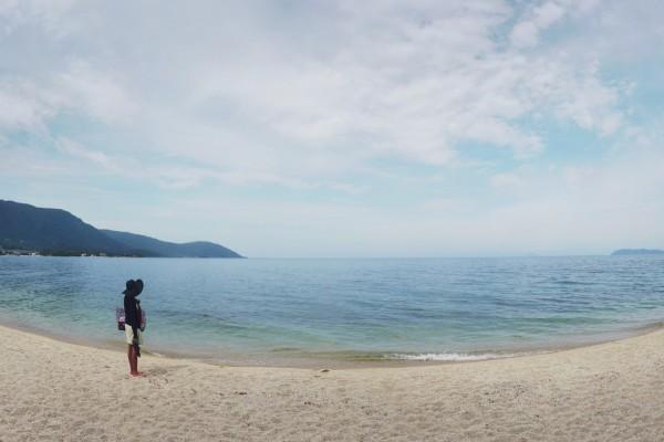 Omimaiko Beach at Lake Biwa.