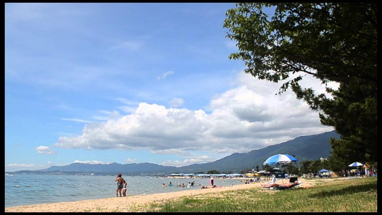 Camping at Lake Biwa, Shiga, Japan.
