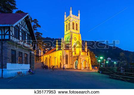 Stock Photo of Christ Church, Shimla k35177953.