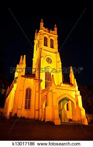 Stock Images of Shimla church at night k13017186.