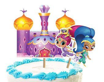 Shimmer+and+Shine+And+Castle+birthday+cake+topper+party+.
