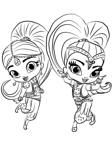 Shimmer and Shine coloring page.