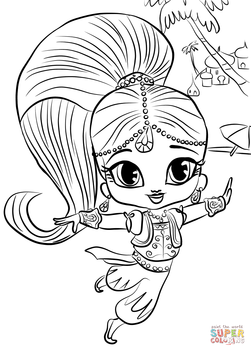 Samira from Shimmer and Shine coloring page.