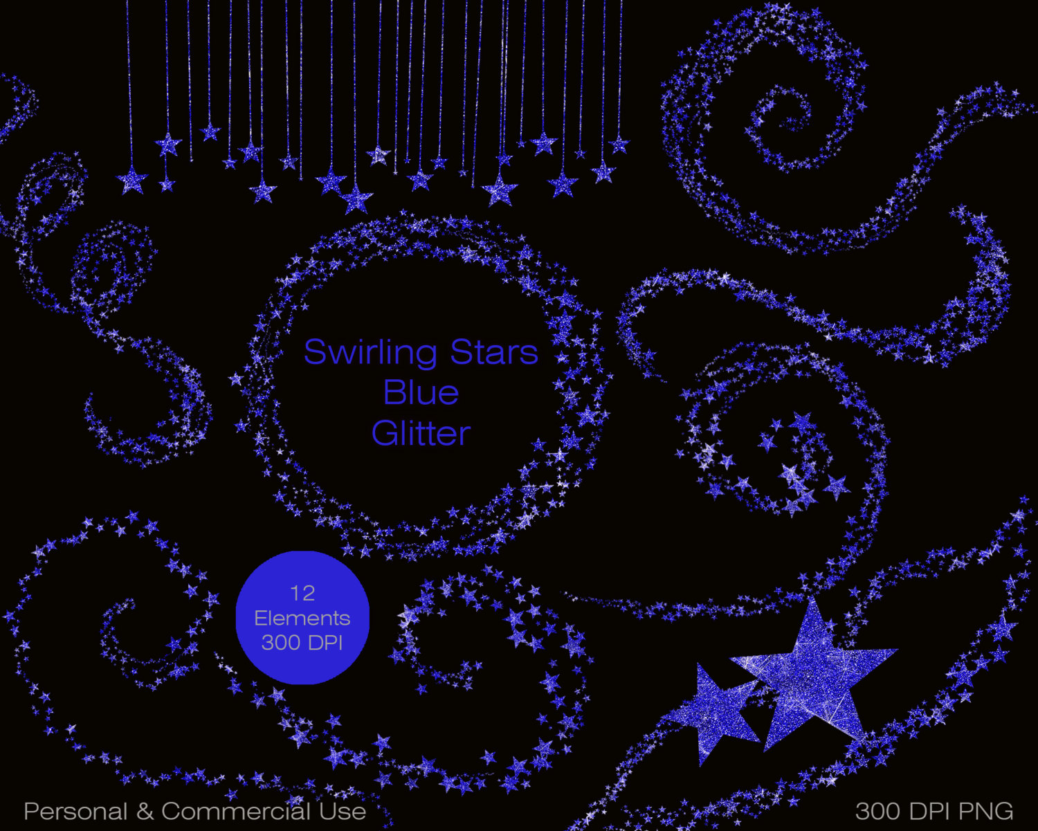 BLUE GLITTER STARS Clipart Commercial Use Clipart Shimmering Royal.