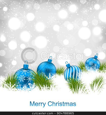 Christmas Glassy Balls, Shimmering Light Postcard stock vector.