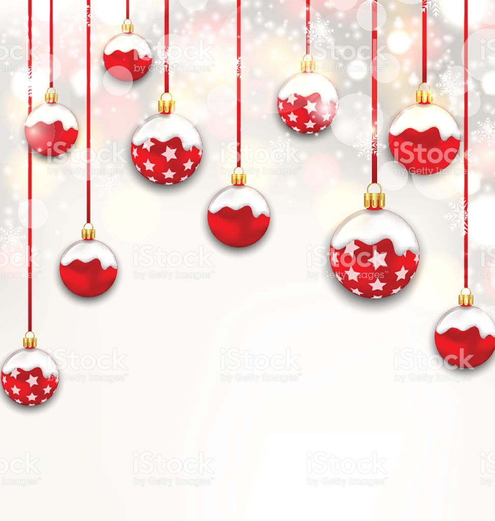 Christmas Red Glassy Balls On Shimmering Light Background stock.