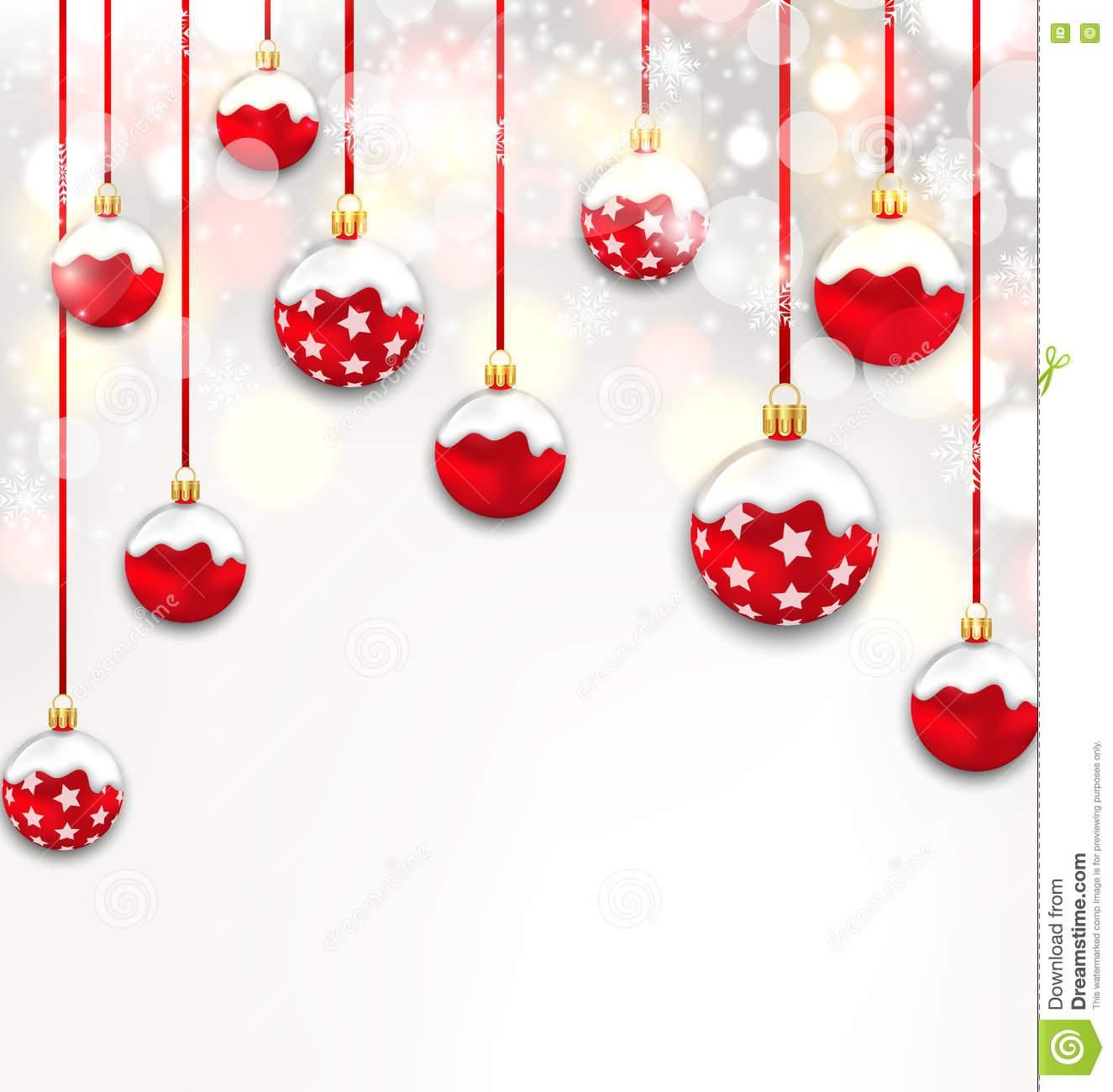 Christmas Red Glassy Balls On Shimmering Light Background Stock.