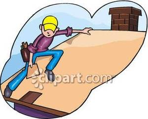 Laying Shingles on a Roof Royalty Free Clipart Picture.