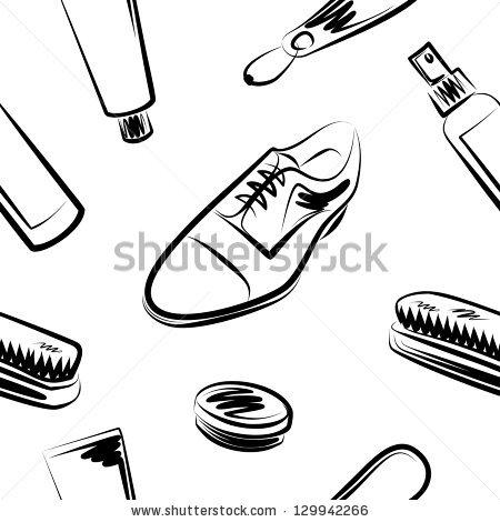 Free clipart of shoe shine man shining shoes.