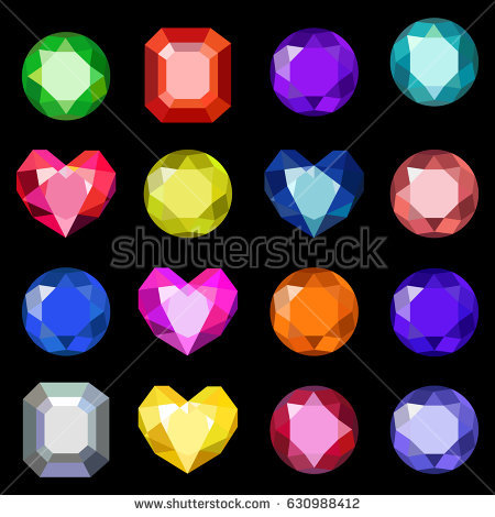 Round Colorful Diamond Stone Shine On Stock Vector 113495401.
