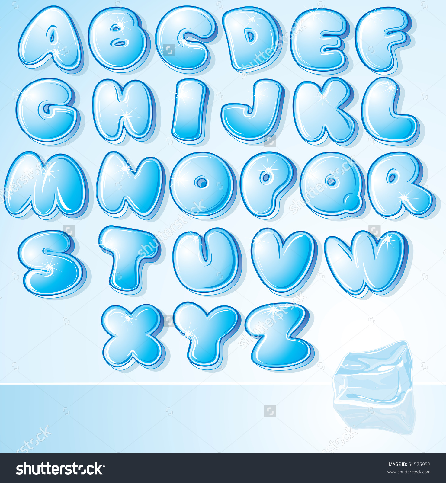 Funny Cartoon Shine Icy Font Letter Stock Vector 64575952.