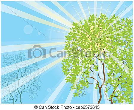 Clipart Vector of Sun rays and tree.