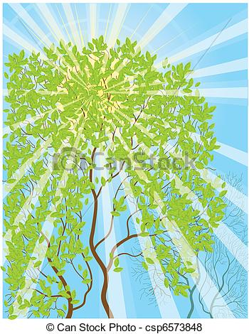 Clip Art Vector of Sun rays and tree.