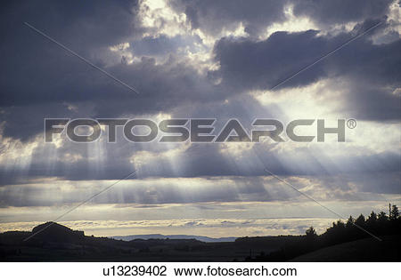 Stock Photo of sunray, cloud, weather, Switzerland, Berne, Europe.